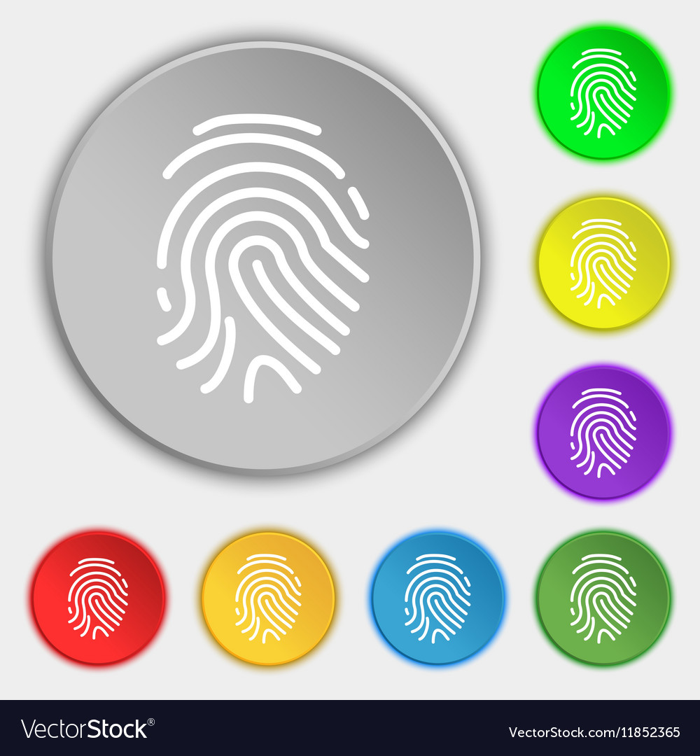 Scanned finger Icon sign Symbol on eight flat