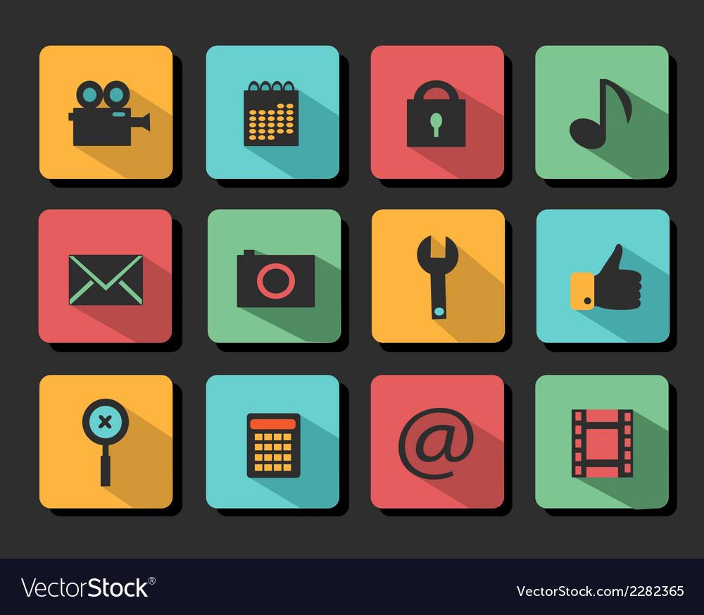 Set icons flat design
