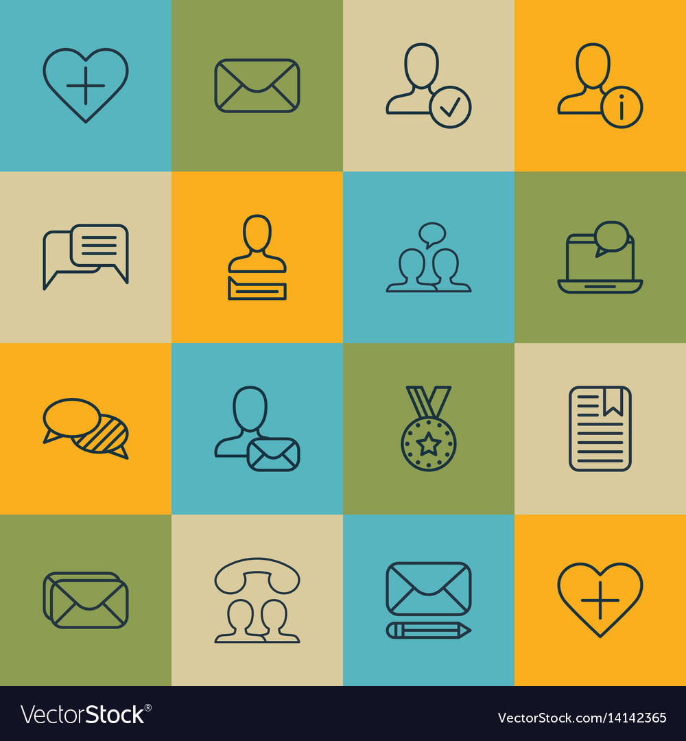 Set of 16 social icons includes favorite person vector image