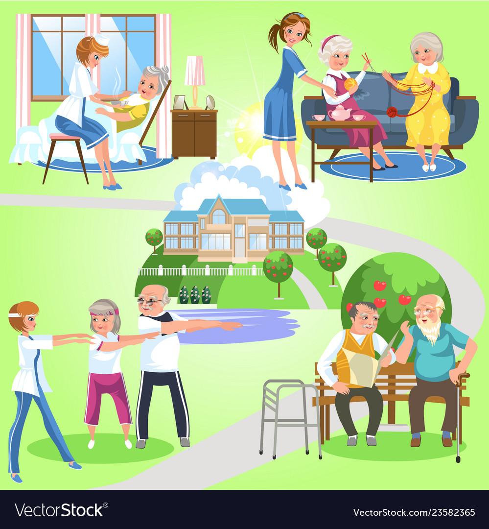 Set of old women and men spending time in nursing
