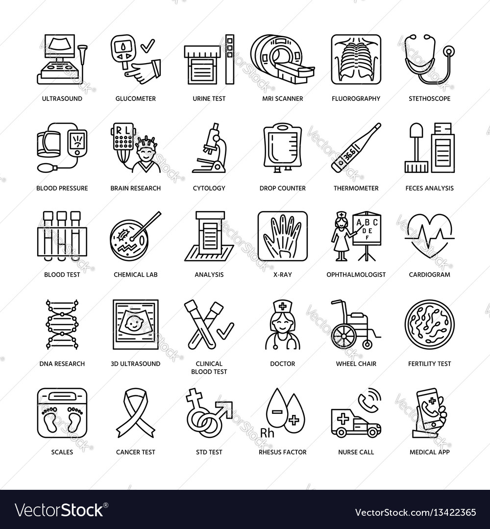 Thin line icon of medical equipment