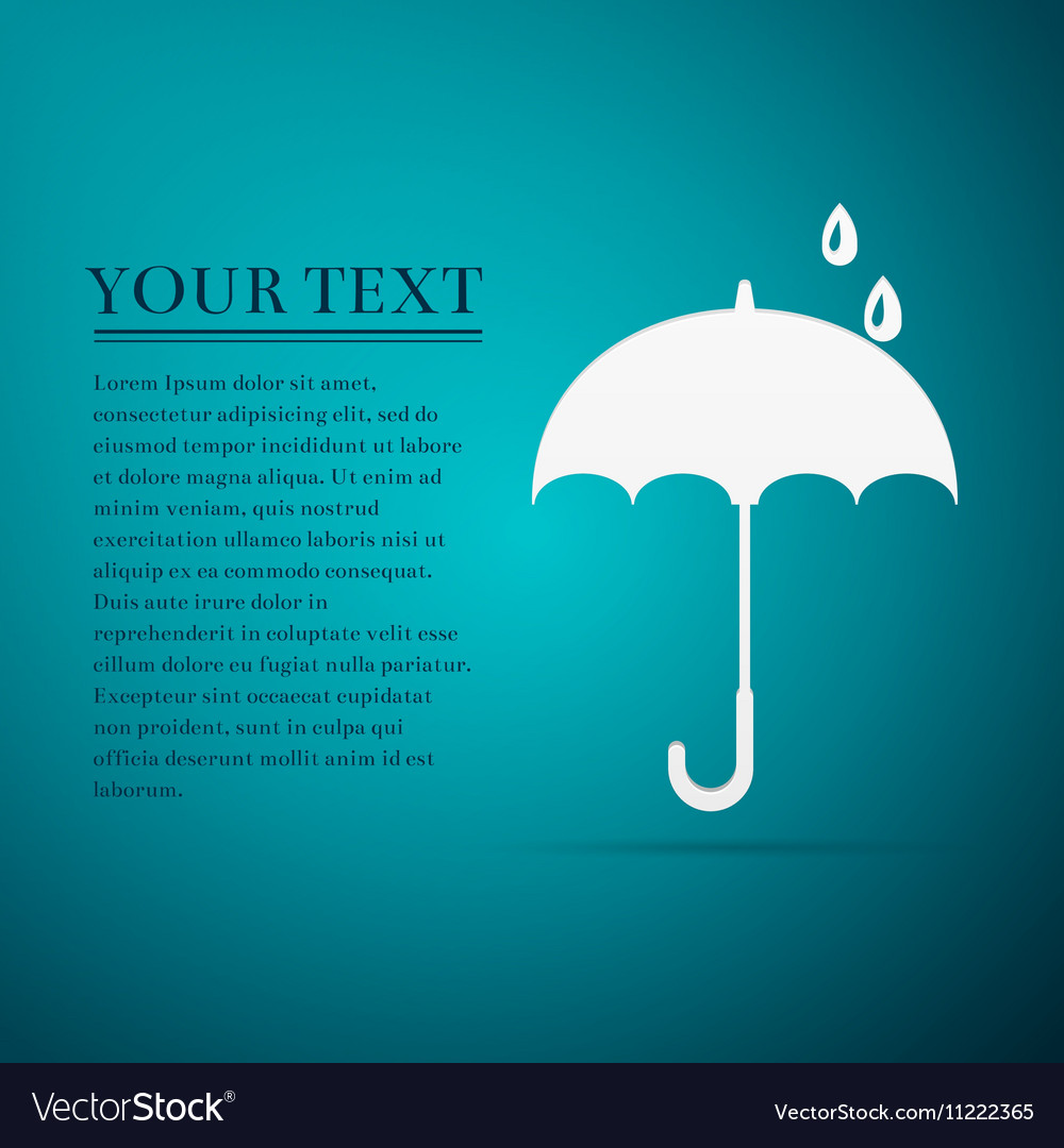 Umbrella flat icon on blue background vector image