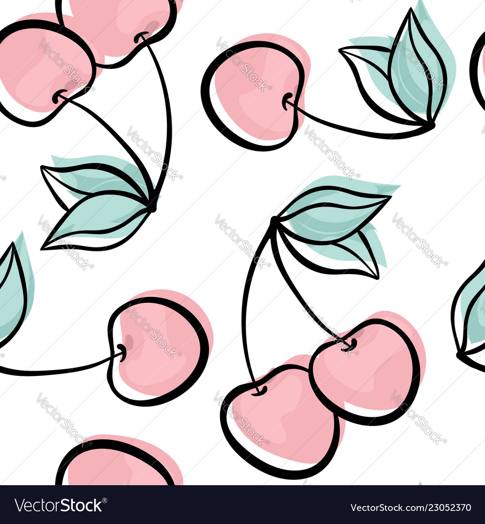 Beautiful seamless pattern with cute doodle cherry