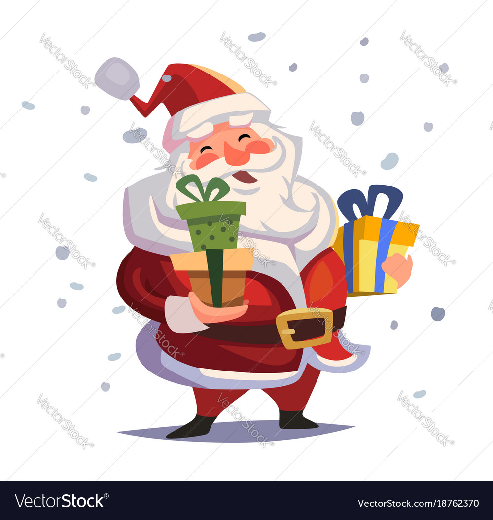 Cartoon santa claus with gifts in hands