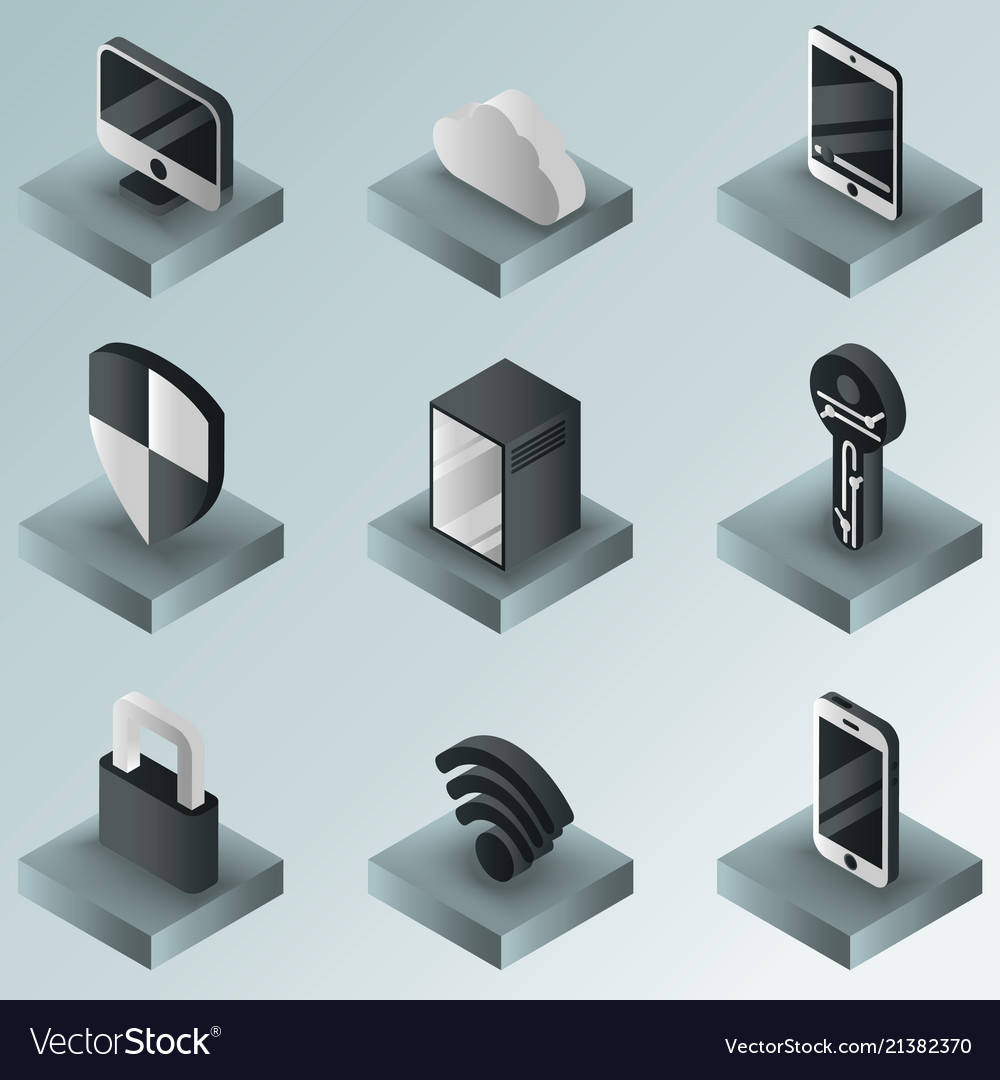 Cybersecurity color gradient isometric icons
