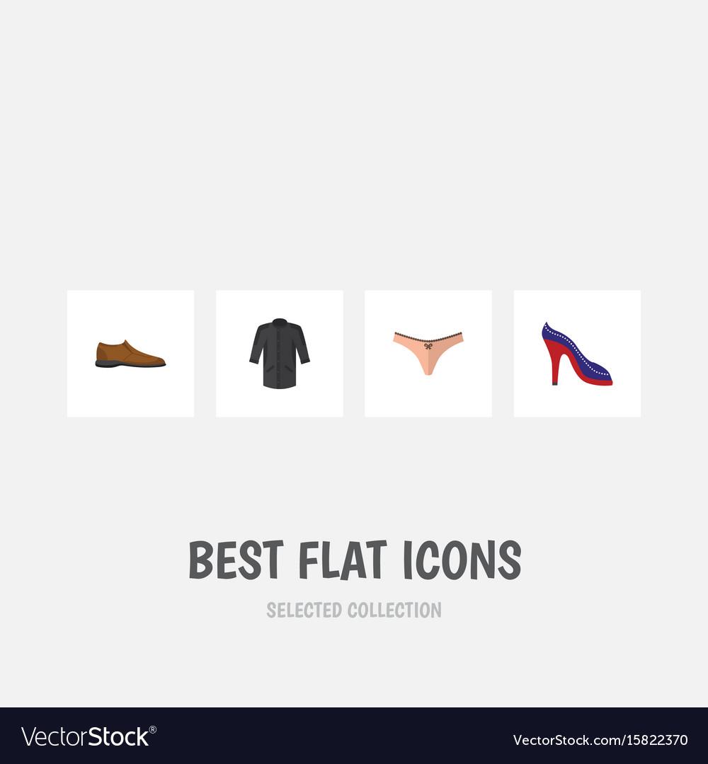 Flat icon dress set of male footware uniform
