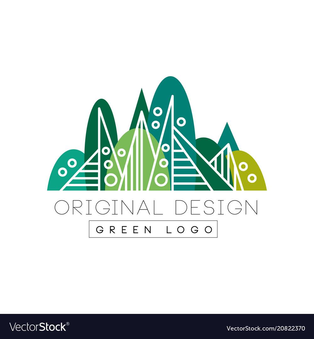 Green logo original design summer forest eco