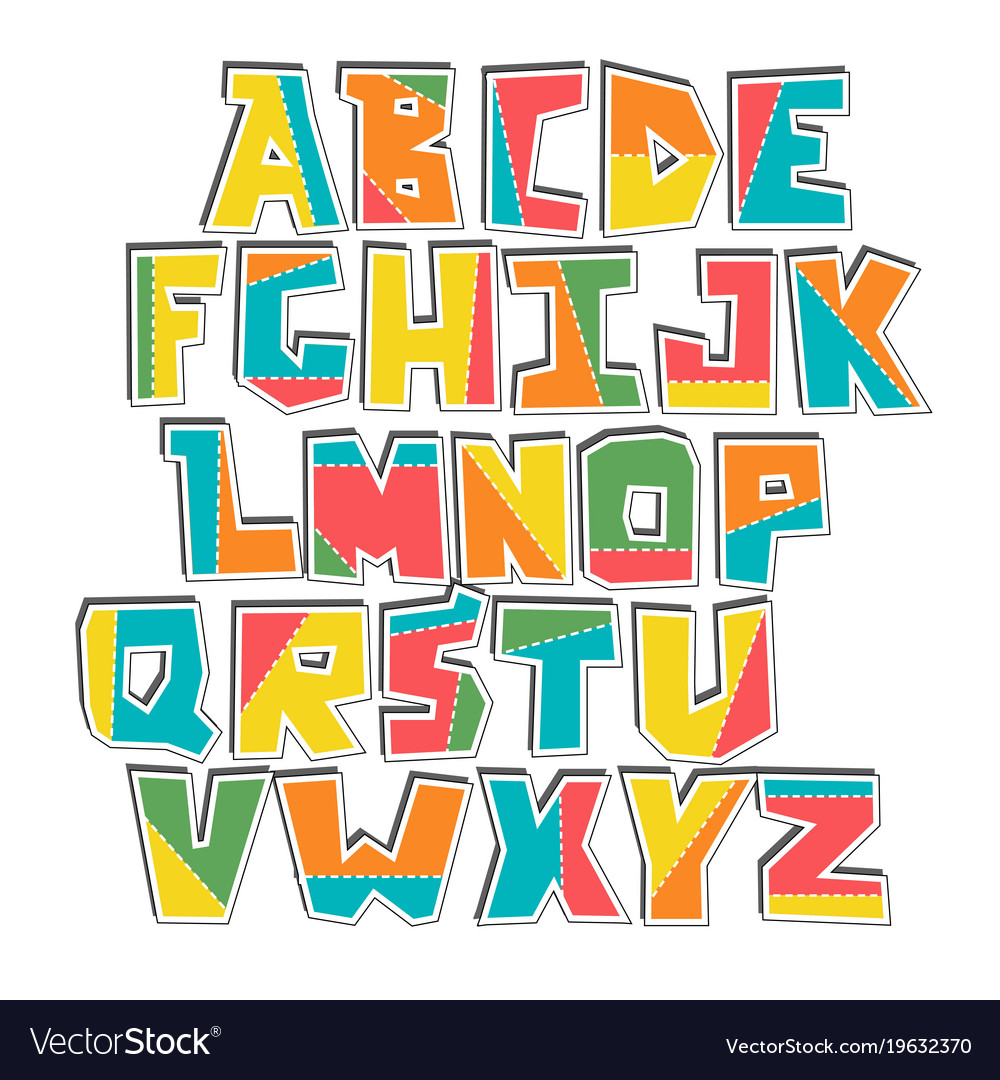 Hand lubberly cut colorful alphabet sticker