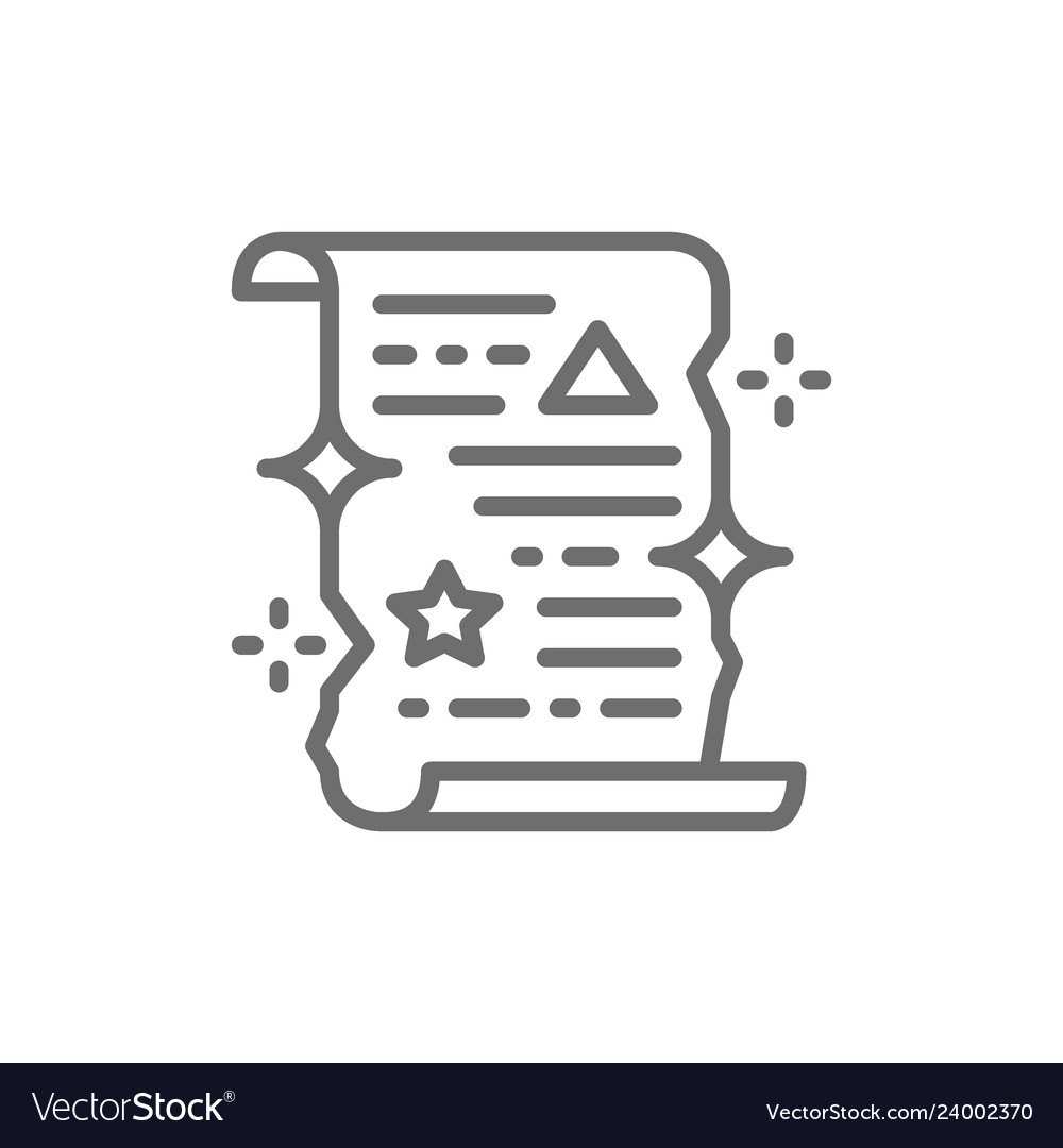 Magic Spell Scroll Unrolled Paper Certificate Vector Image