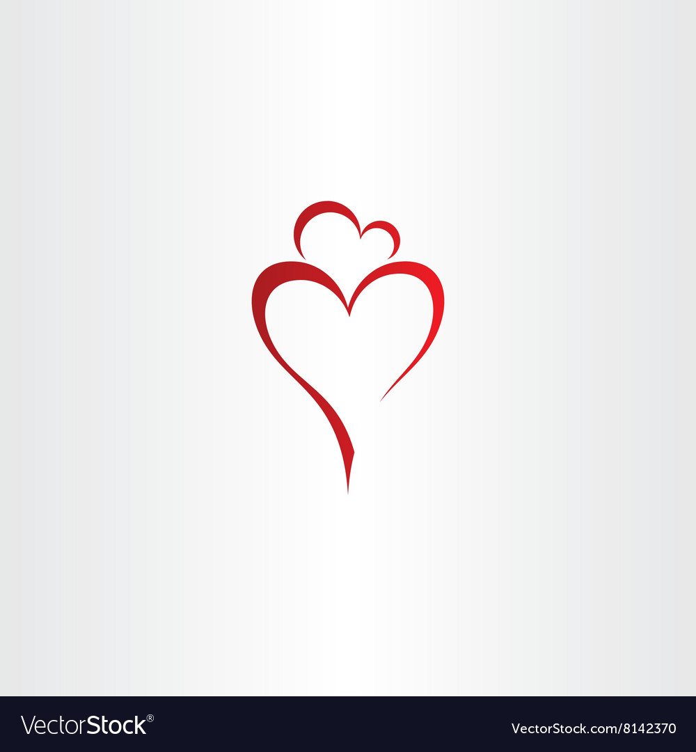 Mother and daughter love heart icon red logo