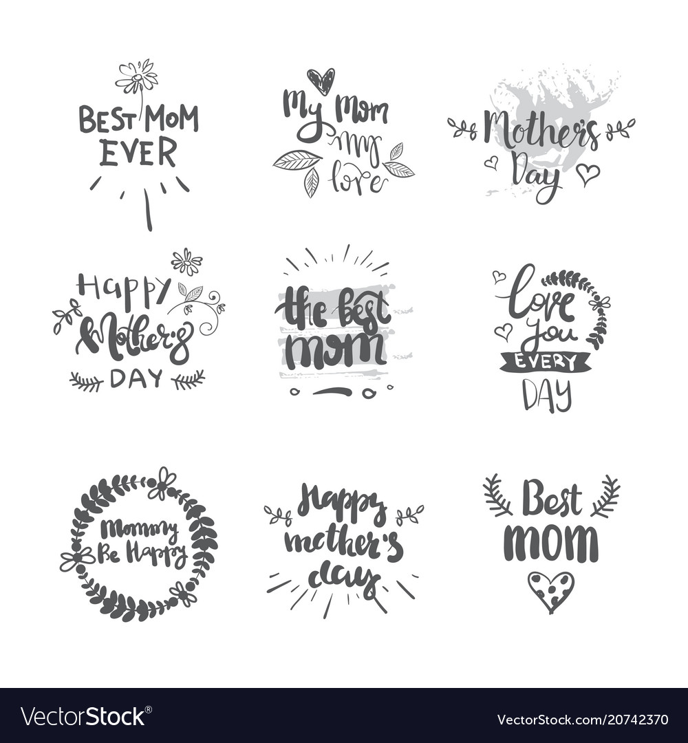 Mothers day set of creative hand drawn lettering
