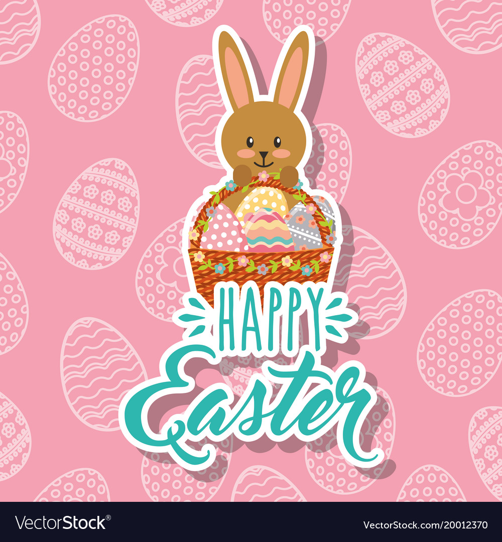 Rabbit holding decorative basket with eggs happy
