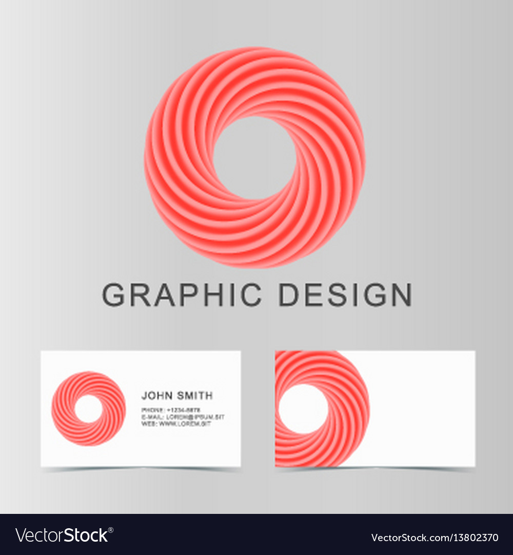 Set of red business abstract circle icon and cards