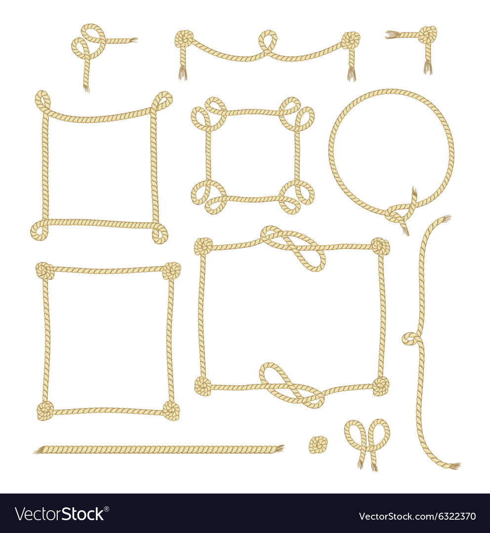 Set of Simple Rope Frames Graphic Designs on white