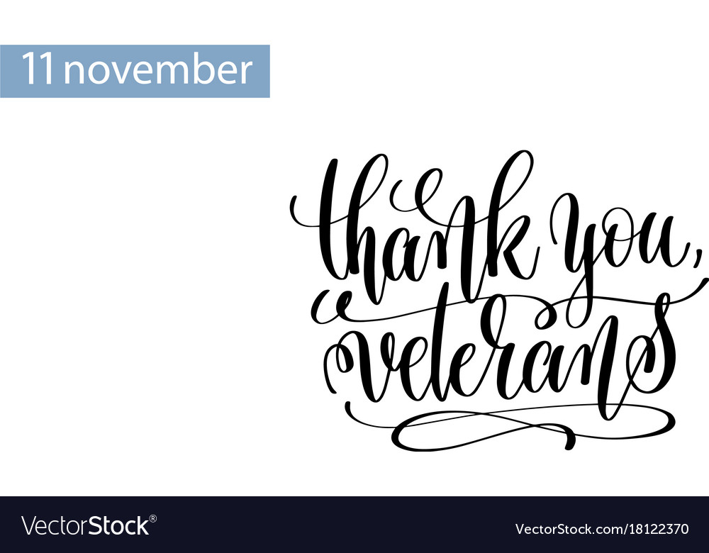Thank you veterans hand lettering inscription to