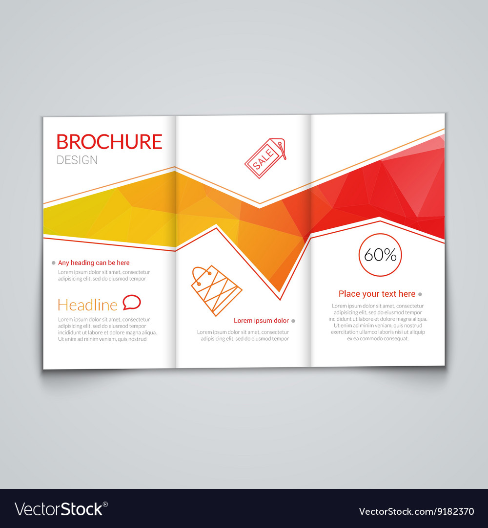 Tri-fold brochure design template with modern vector image