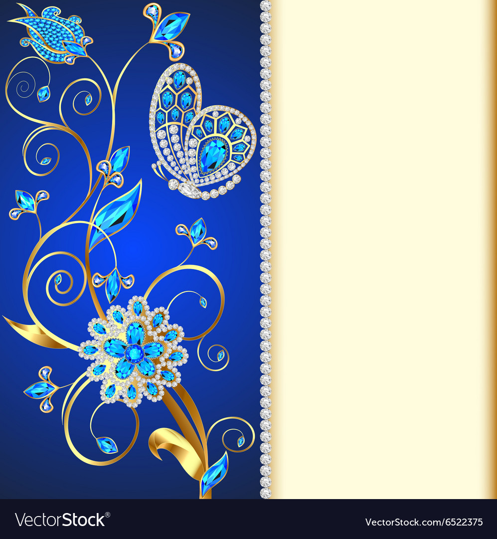Background with butterflies and ornaments made