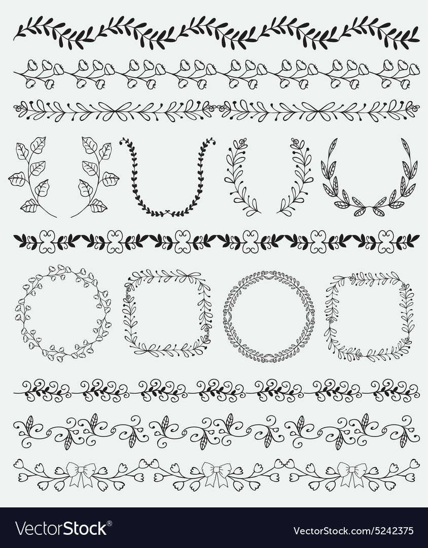 Black Hand Sketched Seamless Borders Frames