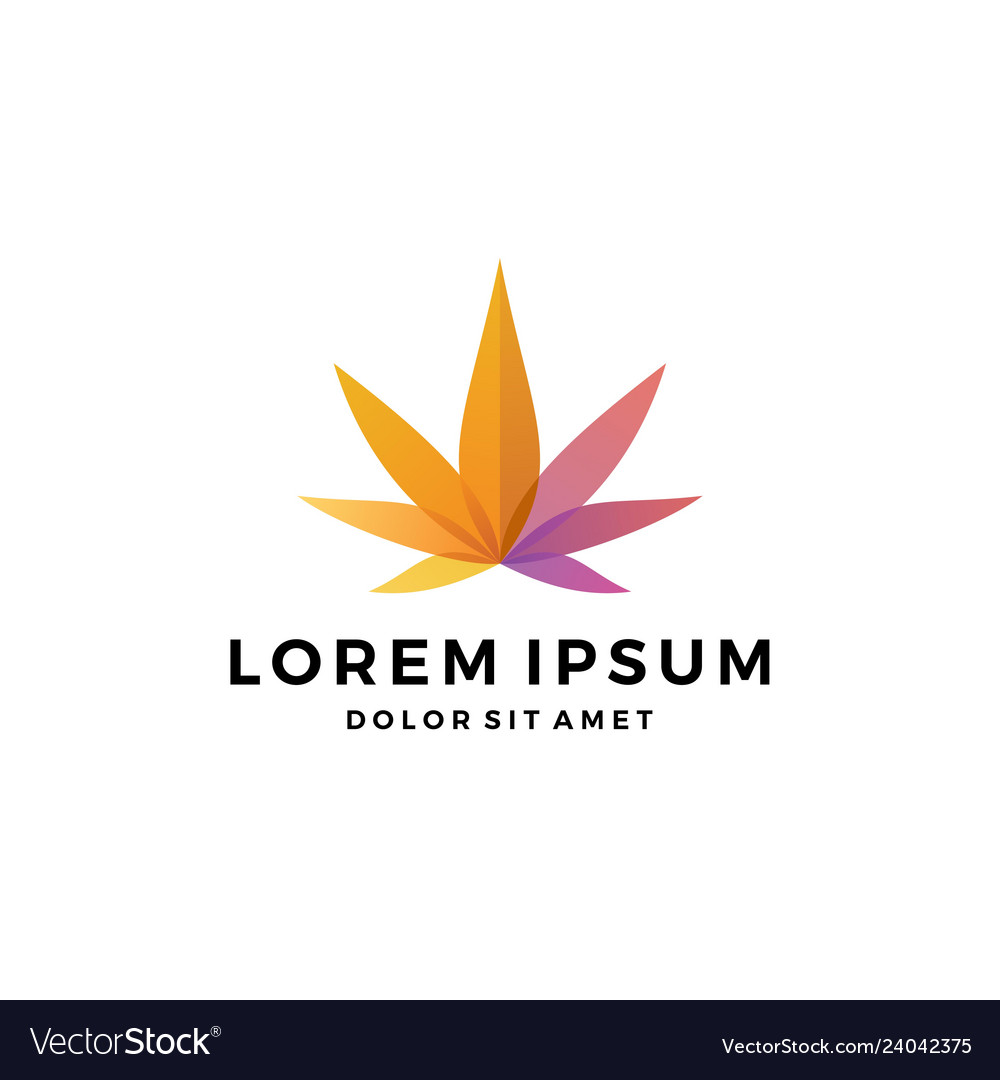 Colorful cannabis marijuana hemp leaf logo