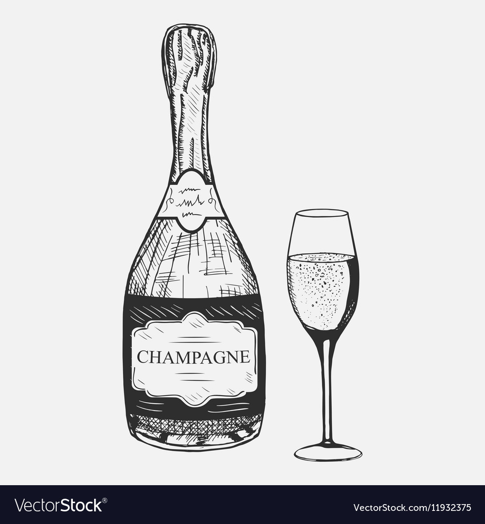 Creative sketch of champagne composition