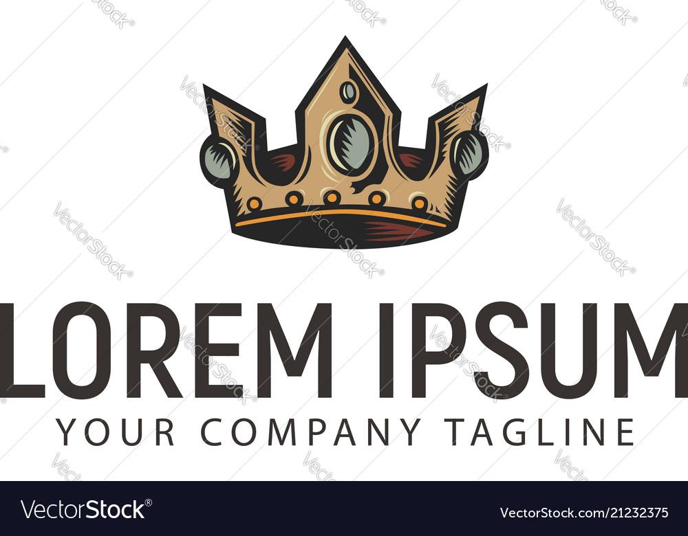 Crown logo hand drawn vintage design concept