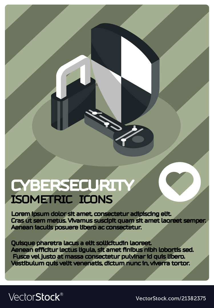 Cybersecurity color isometric poster