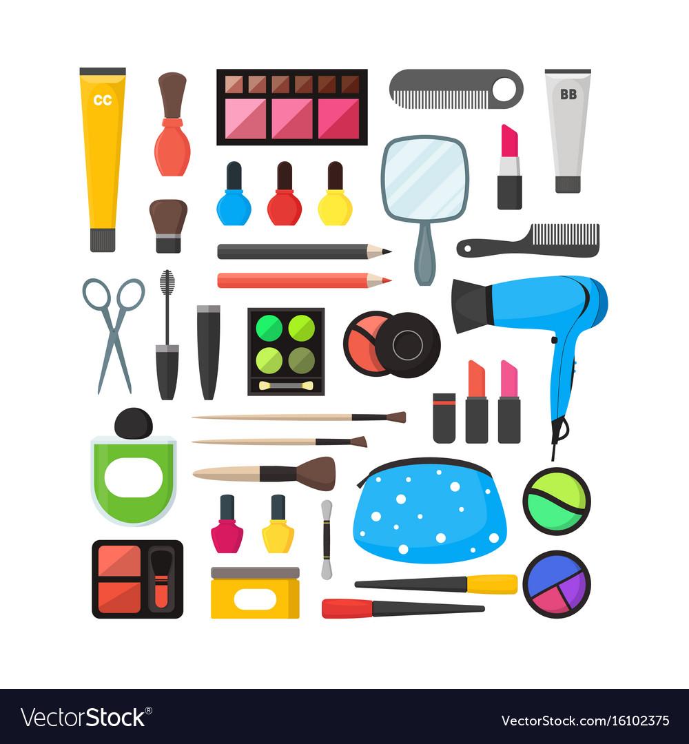 Flat make up tools icon set cosmetics vector image