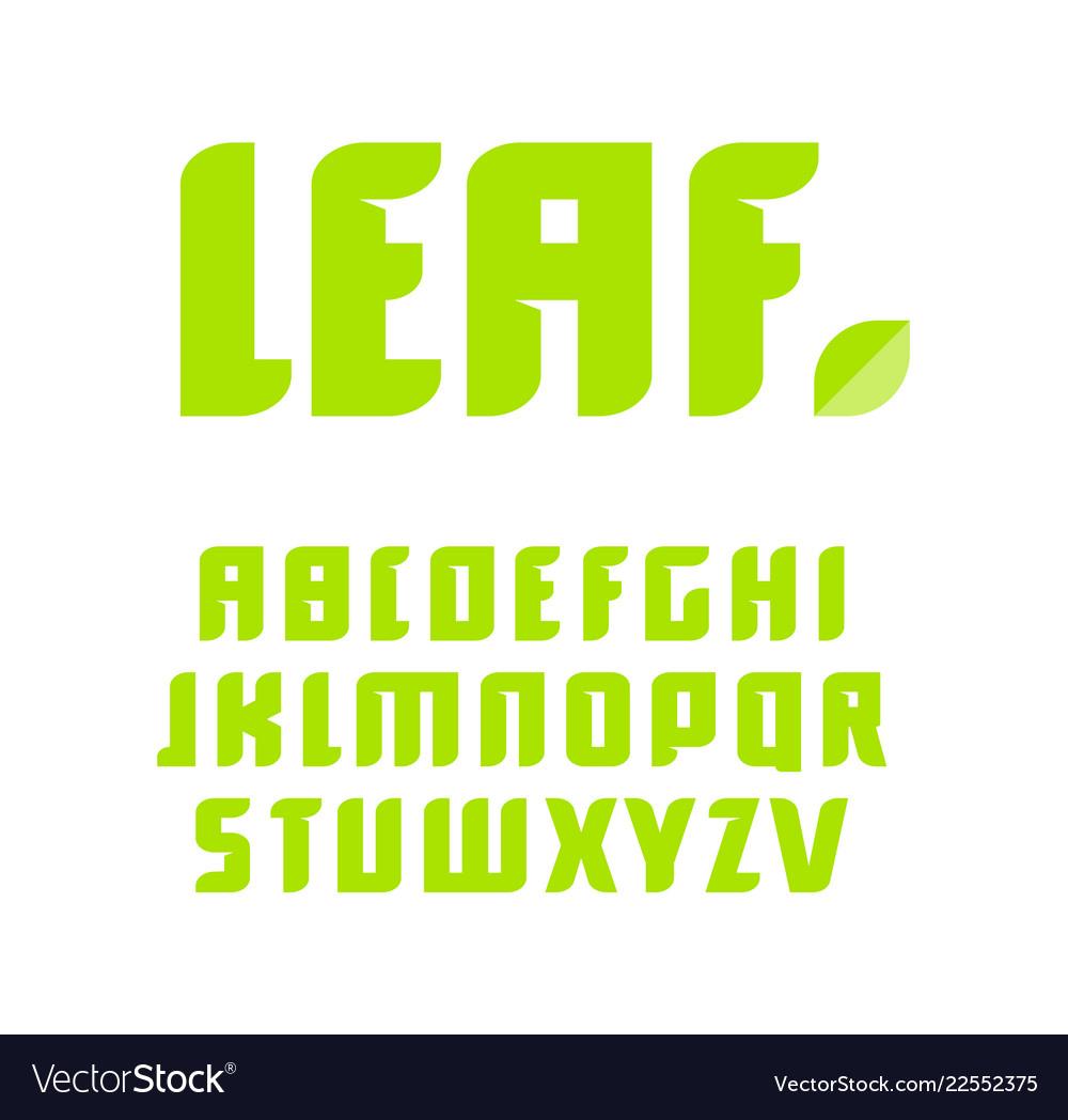 Green letters set latin alphabet natural