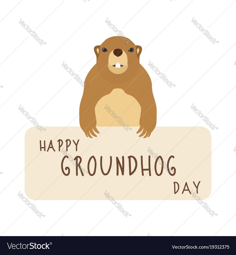 Happy groundhog day cute marmot vector image