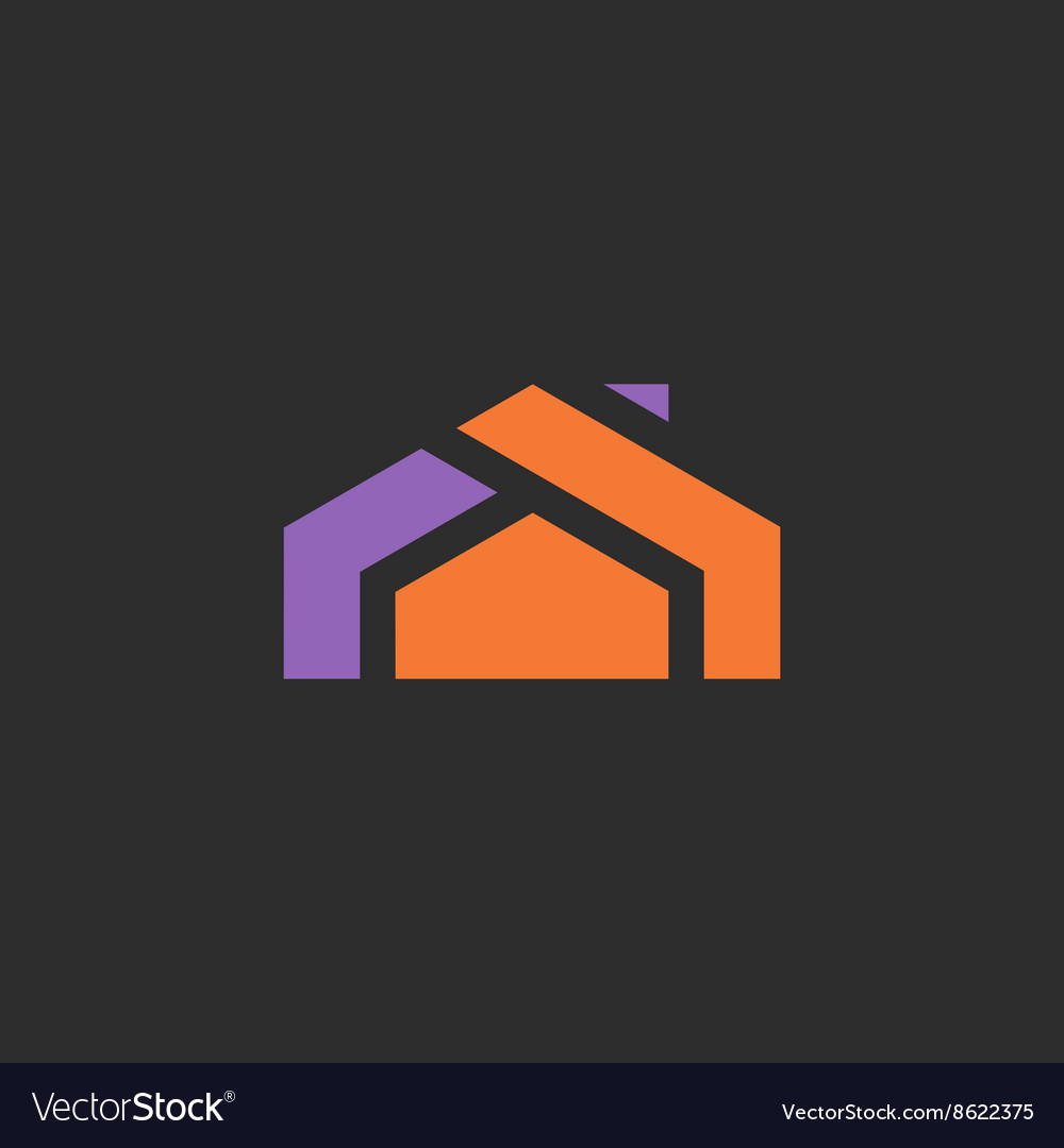 House logo icon abstract sign into flat style of