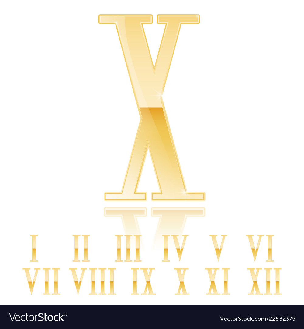 Roman Numeral Ten Golden 3d Sign Royalty Free Vector Image