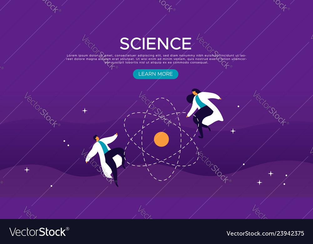 Science web landing page of scientist people