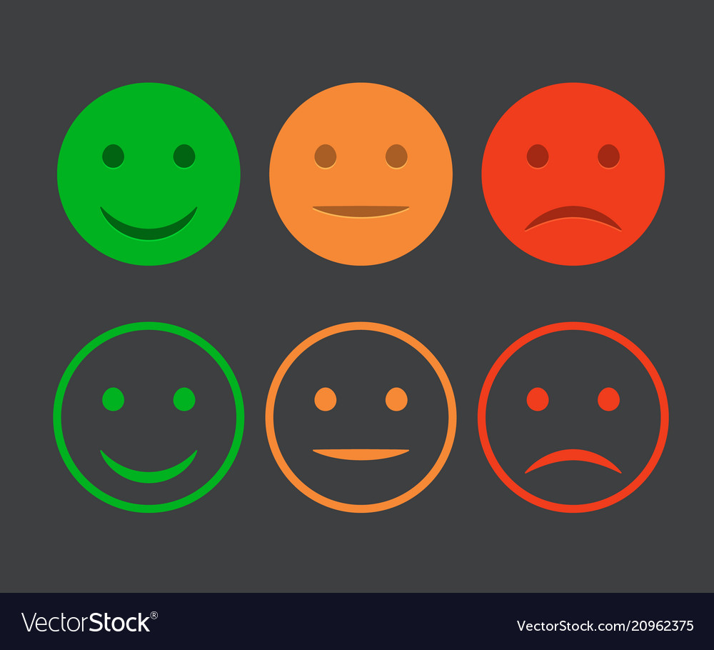 Smiley icon set emoticons positive neutral