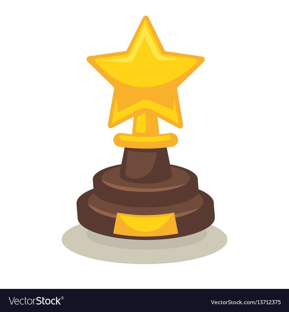 Trophy in form of star on pedestal isolated on