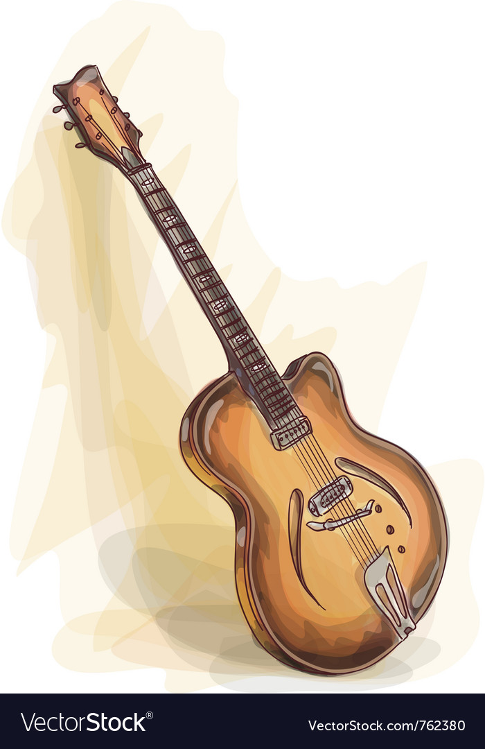 Bass guitar watercolor style