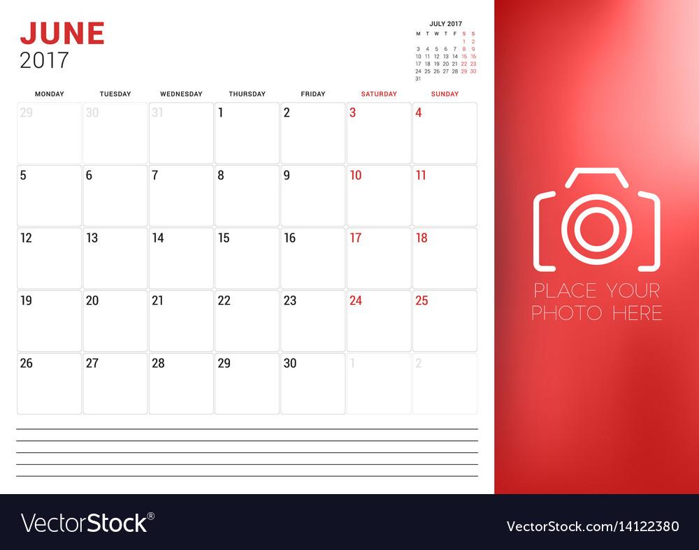 calendar planner template for june 2017 week vector image