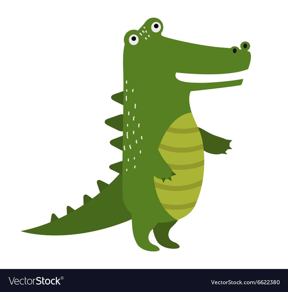 Cartoon cute crocodile isolated on white