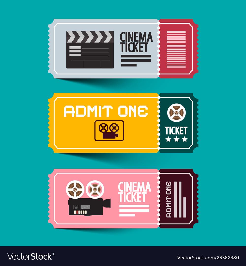 Cinema tickets set paper admit one ticket set