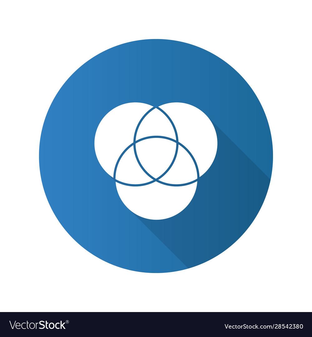 Cmyk or rgb color circles flat design long shadow