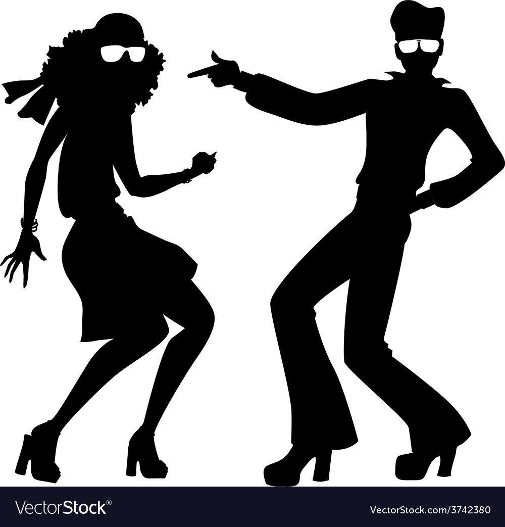 disco dancers silhouette royalty free vector image rh vectorstock com silhouette dance vector dancing silhouette vector free