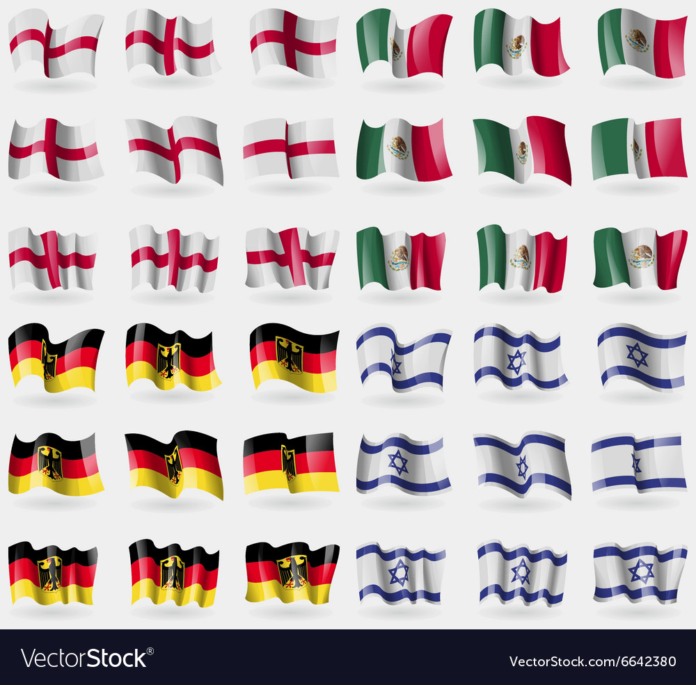 England Mexico Germany Israel Set of 36 flags of