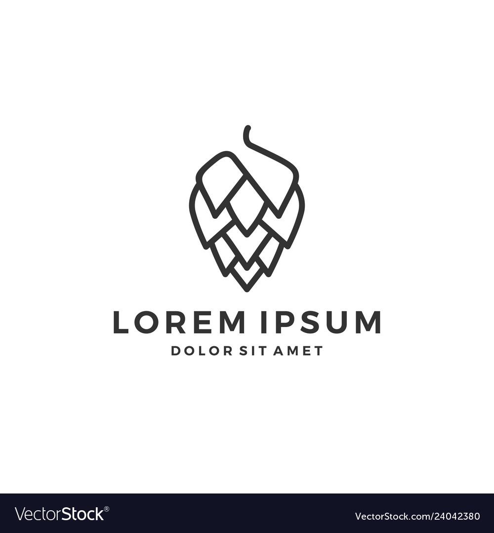 Hop brew brewery logo line outline