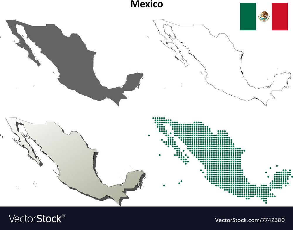 Mexico outline map set vector image