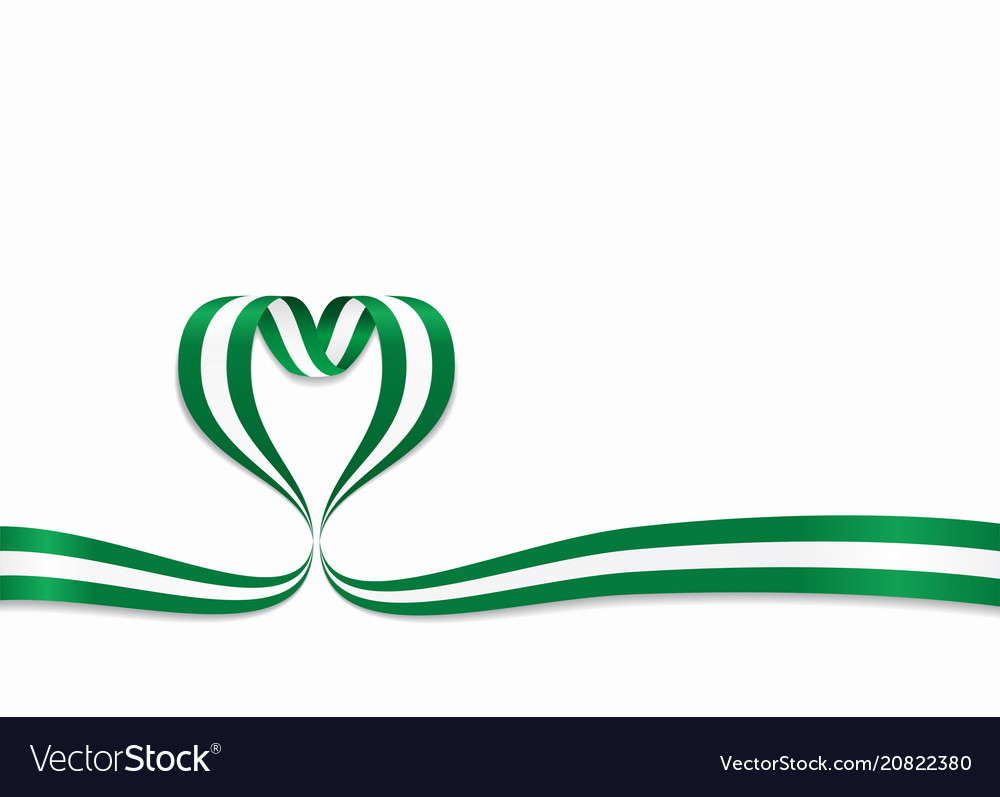 Nigerian flag heart-shaped ribbon