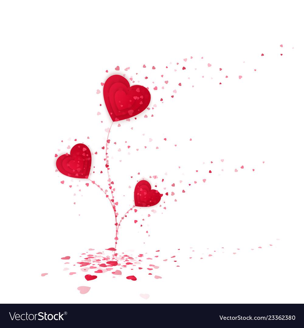 Red heart flower symbol love cute flower from