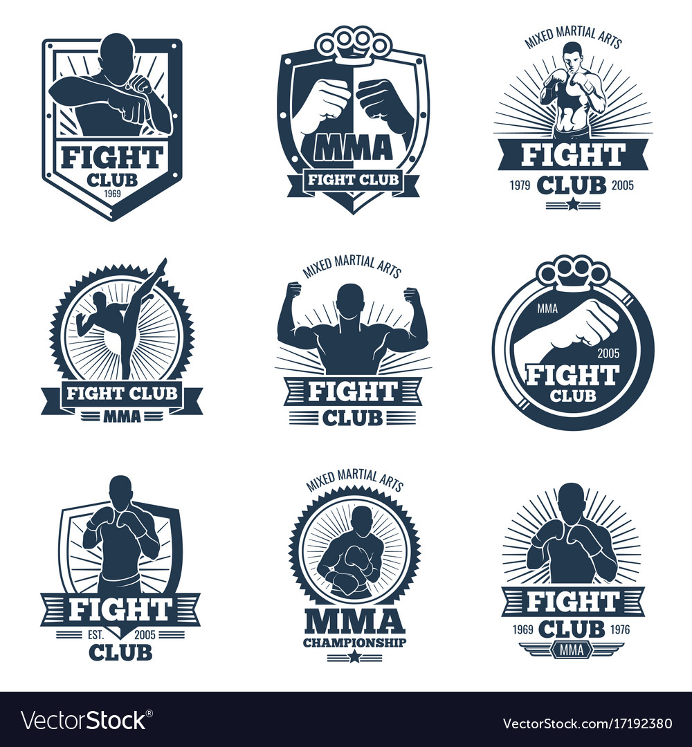 Retro mma emblems and labels fight club