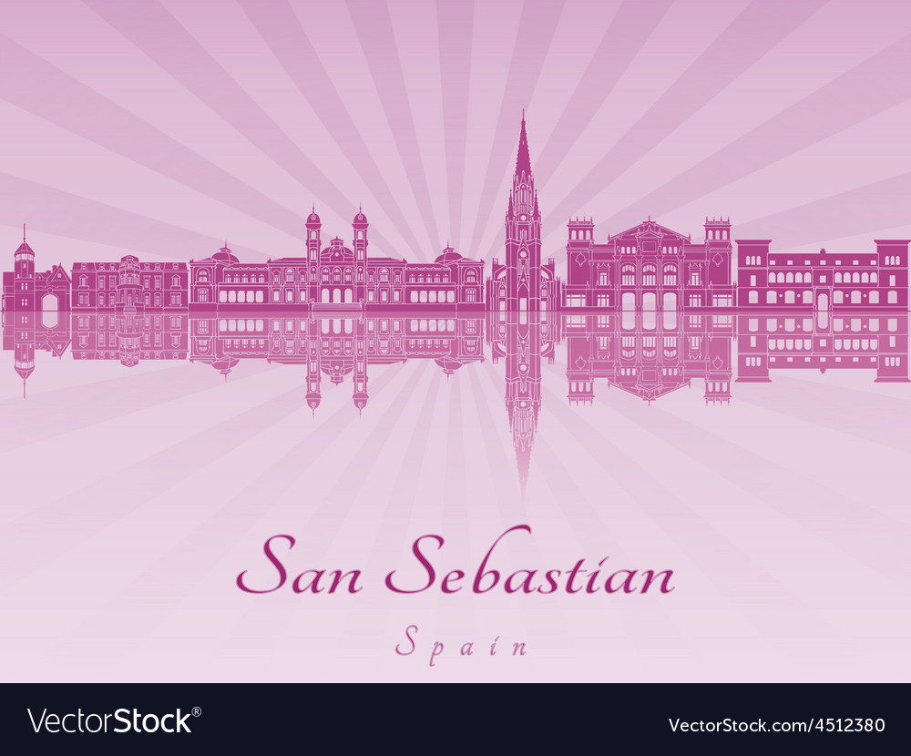 San Sebastian skyline in purple radiant orchid