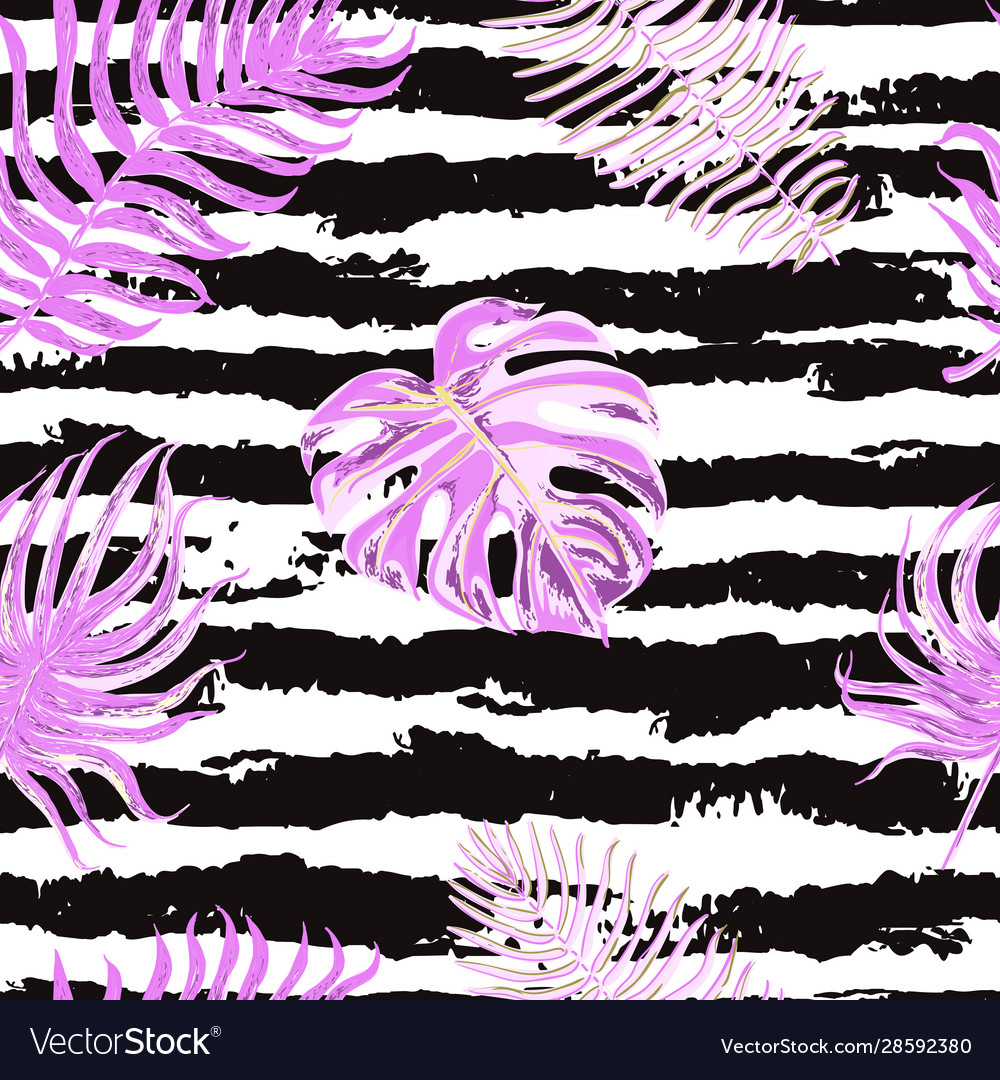 Seamless pattern with tropical leaves on black and