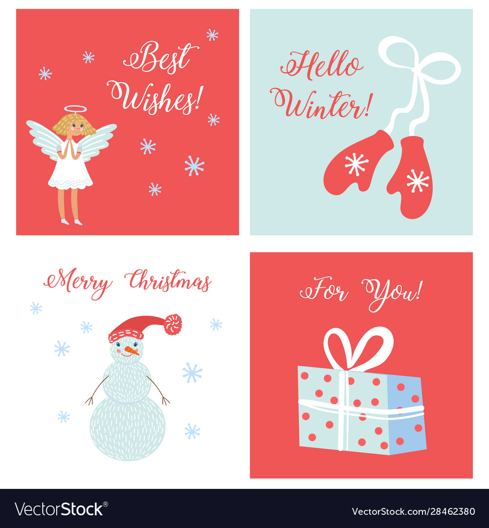 Set simple cards with symbols christmas