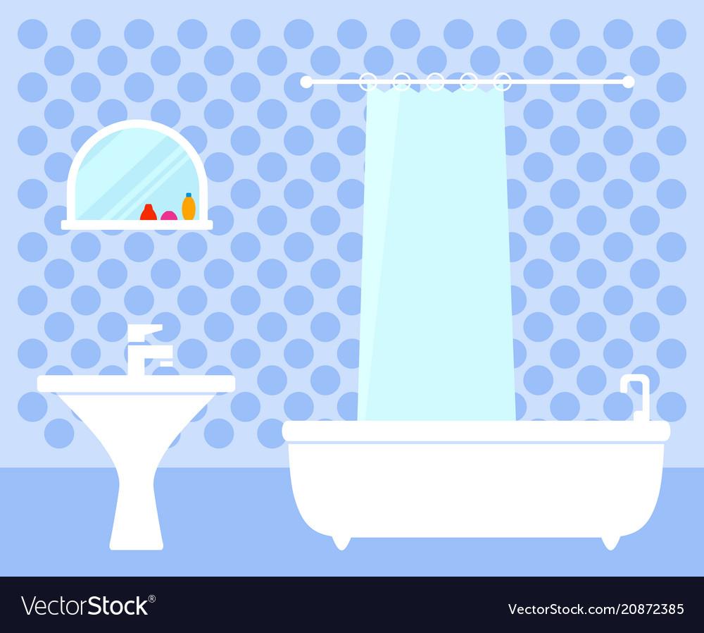 Bathroom interior on flat design vector image